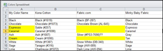 Excel Color Chart 2